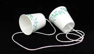 Phone made from paper cups/ Child's experiment.