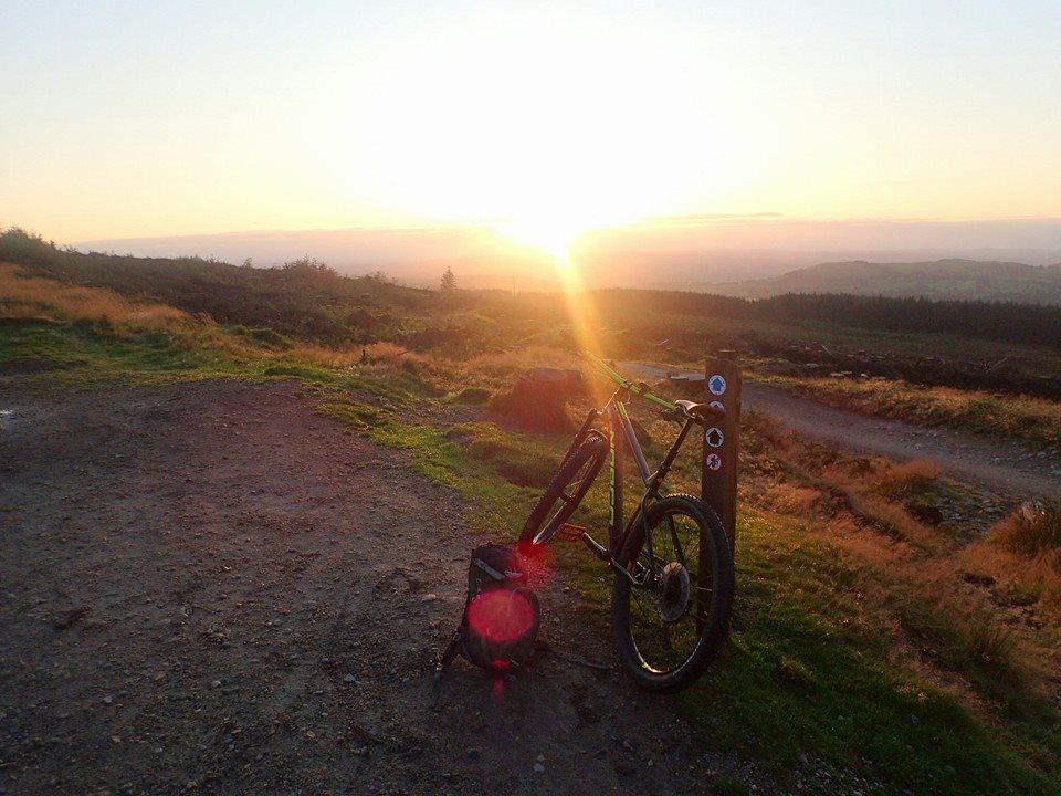 mountain biking sunset llandegla